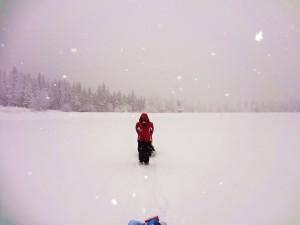 Walking across the lake